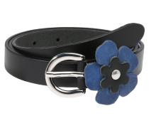 Gürtel 'Flower' taubenblau / schwarz