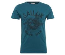 T-Shirt 'Cekema' blau / petrol / schwarz