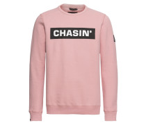Sweatshirt 'low Box' pink / schwarz / weiß