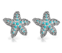 Ohrringe 'Starfish' hellblau / silber