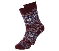Socken himmelblau / burgunder / weiß