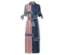 Kleid blau / pastellrot