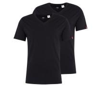 T-Shirt 'slim 2 Pack V Neck Tee' schwarz
