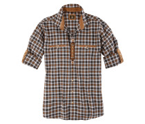 Trachtenhemd mit Lederimitat-Appliaktion