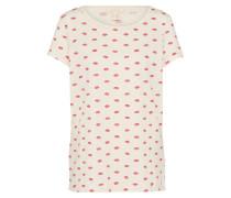 Shirt 'Kiss Tee' creme / rot
