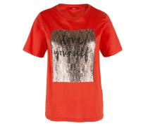 Shirt greige / orangerot / schwarz