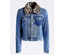 Jeansjacke blue denim / dunkelbraun