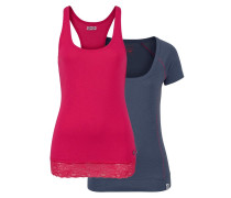 2-in-1 Shirt blau / neonpink