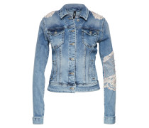Jeansjacke creme / blue denim
