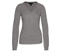 Extrafeiner V-Pullover graumeliert
