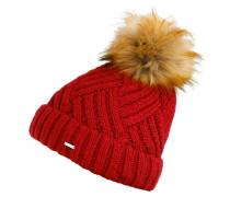 Mütze mit stylischem Bommel rot