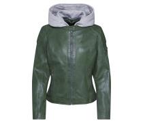 Lederjacke 'Angy W19 Lamas' grau / grün