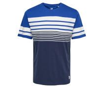 T-Shirt royalblau / dunkelblau / weiß
