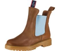 Chelsea Boots hellblau / braun