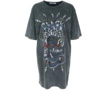 T-Shirt-Kleid blau / dunkelgrau / rot