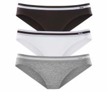 Bikinislips (3 Stück) grau / schwarz / weiß