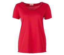 T-Shirt mit Fransenkante rot