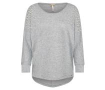 Pullover mit Zierperlen graumeliert