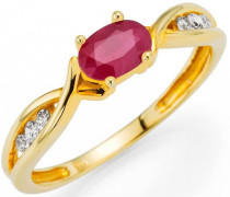Fingerring gold / feuerrot / transparent