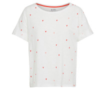 T-Shirt 'Boxy Aop' rot / offwhite