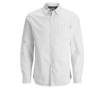 Langarmhemd Mikroprint weiß