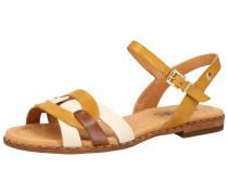 Sandale gelb / weiß / kastanienbraun
