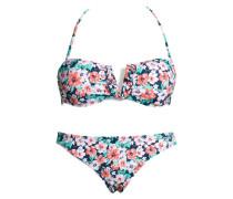 Bandeau-Bikini blau / grün / lachs / weiß