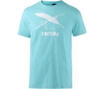 Print Shirt türkis / weiß