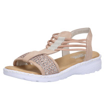 Sandale hellbraun / rosé / silber / weiß