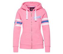 Sweatjacke hellblau / pink / weiß