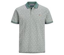 Bedrucktes Poloshirt grün / weiß
