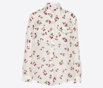 Bluse 'cherry-Print' kirschrot / weiß