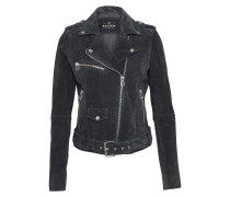 Lederjacke 'belted Velours' anthrazit