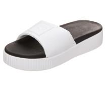 Badesandalen 'Platform Slide' schwarz / weiß