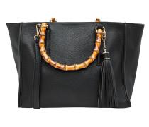 Handtasche mit Bambushenkeln schwarz