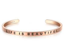 Edelstahlarmband Bangle mit Life IS BEAUTIFUL-Gravur