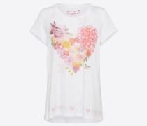 T-Shirt 'heart flower' pink / weiß