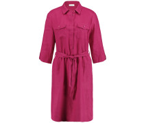 Kleid Gewebe Hemdblusenkleid aus Leinen