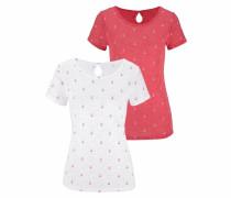 T-Shirts orangerot / weiß