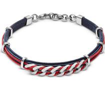 Armband nachtblau / rot / silber