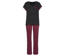 Pyjama rosa / eosin / cranberry / schwarz