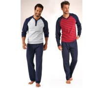 Lange Pyjamas navy / rot / weiß