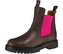 Chelsea Boots braun / dunkelpink