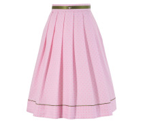 Trachtenrock mit Falten khaki / rosa