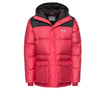 Steppjacke 'downpufferparka' rot / schwarz