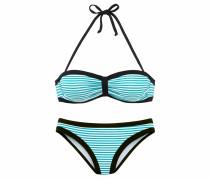 Bandeau-Bikini türkis / schwarz / weiß