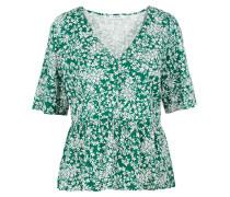Bedruckte Schößchen Bluse grün