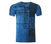 T-Shirt mit Skull All Over Print blau
