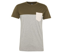 T-Shirt mit Brusttasche hellgrau / oliv