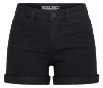 Shorts umgeschlagener Saum schwarz